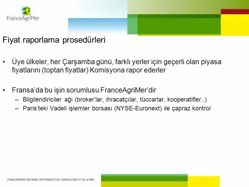 Fiyat raporlama prosedürleri Üye ülkeler, her Çarşamba günü, farklı yerler için geçerli olan piyasa fiyatlarını (toptan fiyatlar) Komisyona rapor ederler Fransa'da bu işin sorumlusu FranceAgriMer'dir –Bilgilendiriciler ağı (broker'lar, ihracatçılar, tüccarlar, kooperatifler..) –Paris'teki Vadeli işlemler borsası (NYSE-Euronext) ile çapraz kontrol