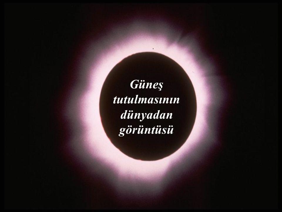 GÜNEŞ TUTULMASI Ay Güneş ile Dünya'nın arasına girer. Güneş ışınları dünyaya erişemez. Yeryüzüne Ay'ın gölgesi düşer.