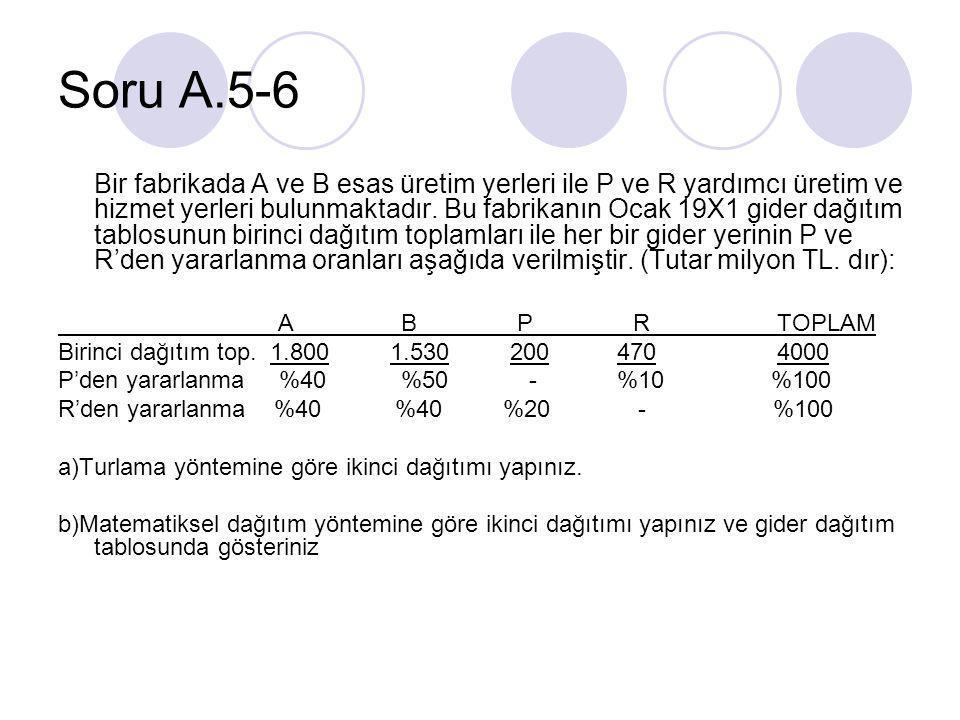 Soru A.5-6 Bir fabrikada A ve B esas üretim yerleri ile P ve R yardımcı üretim ve hizmet yerleri bulunmaktadır.