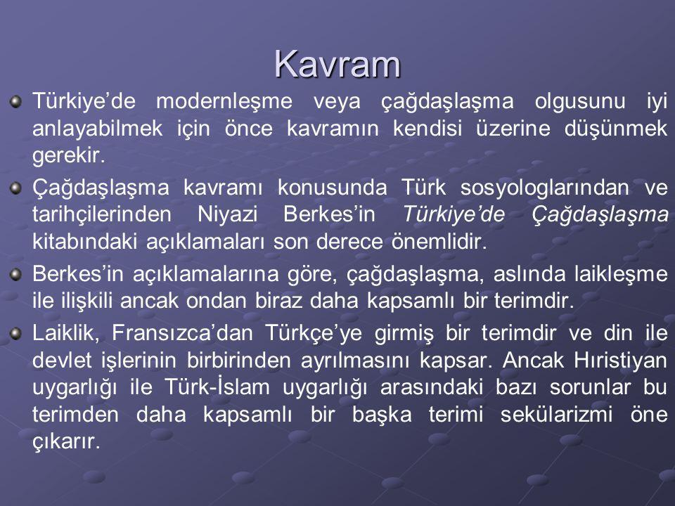 Kavram Türkiye'de modernleşme veya çağdaşlaşma olgusunu iyi anlayabilmek için önce kavramın kendisi üzerine düşünmek gerekir. Çağdaşlaşma kavramı konu