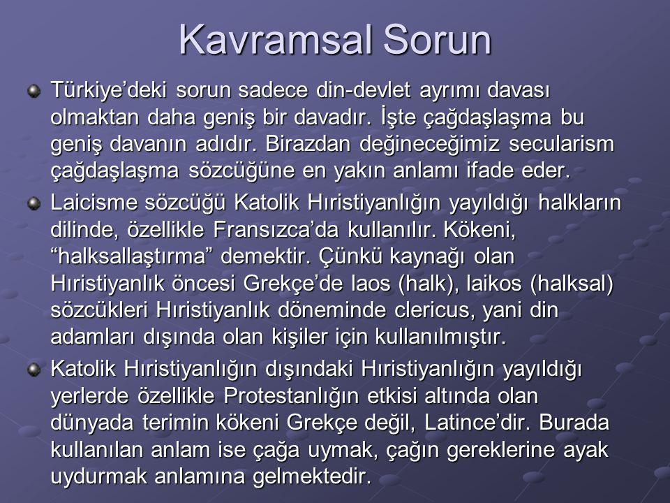 Kavramsal Sorun Türkçe'de sekülarizmin önceki karşılığı asrilik ve muasırlaşmak olarak karşılanmıştır.