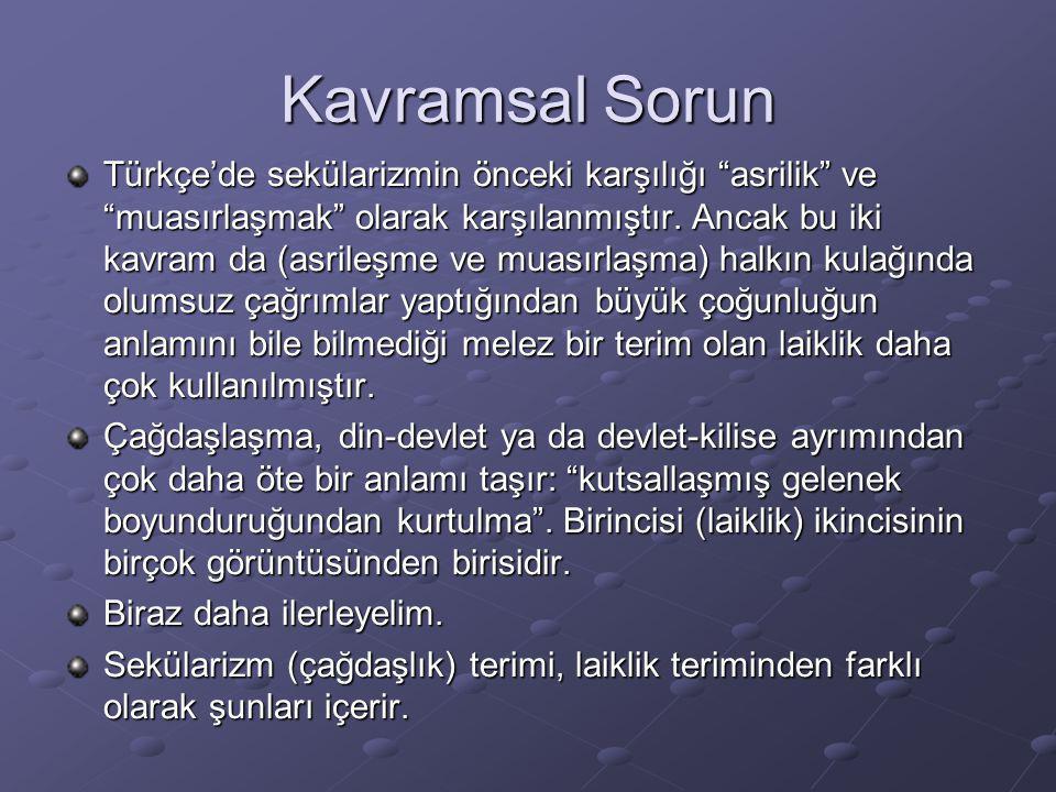 """Kavramsal Sorun Türkçe'de sekülarizmin önceki karşılığı """"asrilik"""" ve """"muasırlaşmak"""" olarak karşılanmıştır. Ancak bu iki kavram da (asrileşme ve muasır"""