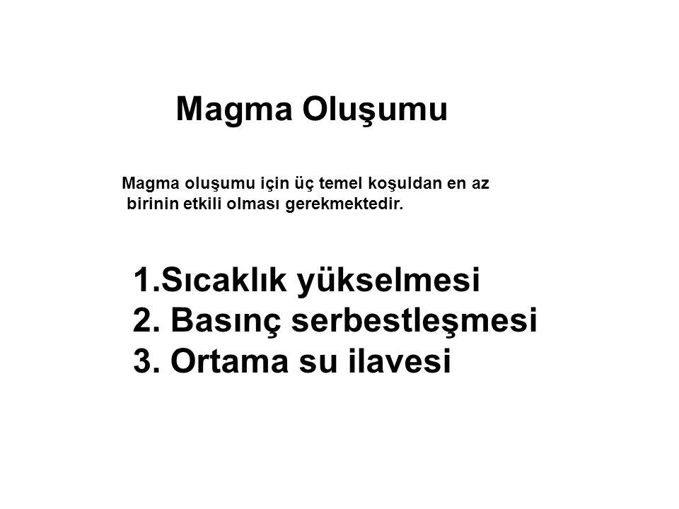 Magma Oluşumu Magma oluşumu için üç temel koşuldan en az birinin etkili olması gerekmektedir.