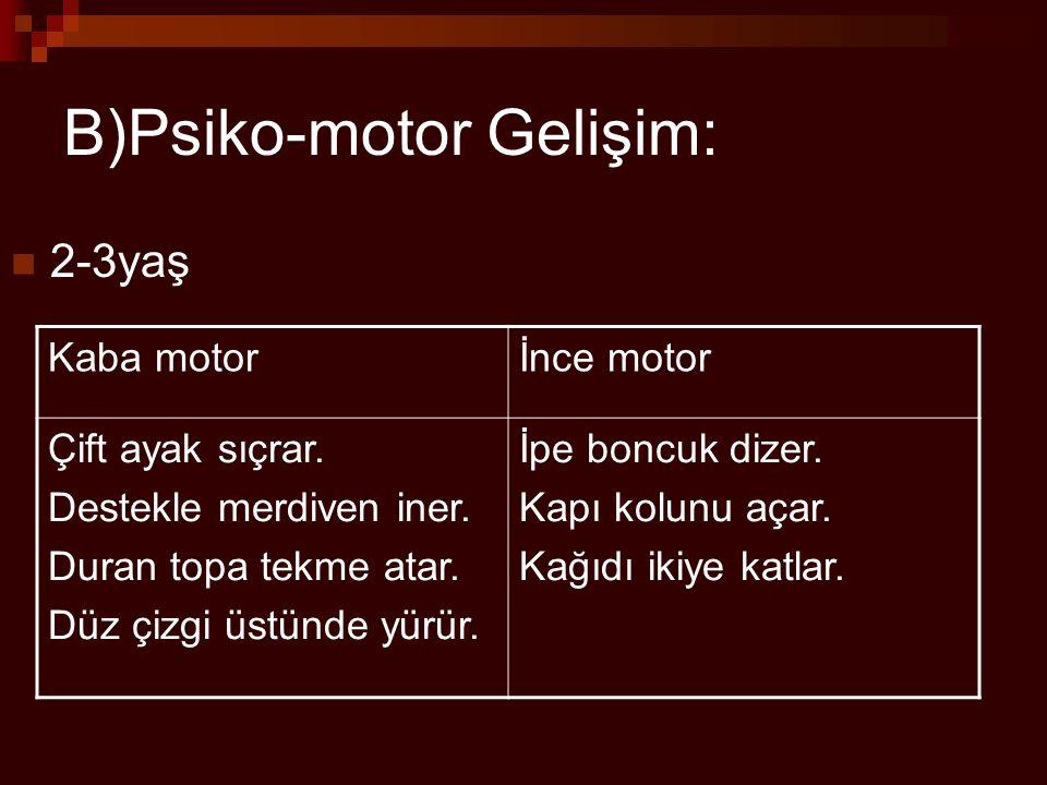 B)Psiko-motor Gelişim: 2-3yaş Kaba motorİnce motor Çift ayak sıçrar. Destekle merdiven iner. Duran topa tekme atar. Düz çizgi üstünde yürür. İpe boncu