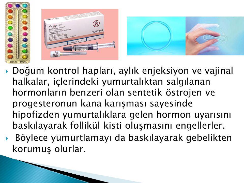  Doğum kontrol hapları, aylık enjeksiyon ve vajinal halkalar, içlerindeki yumurtalıktan salgılanan hormonların benzeri olan sentetik östrojen ve prog