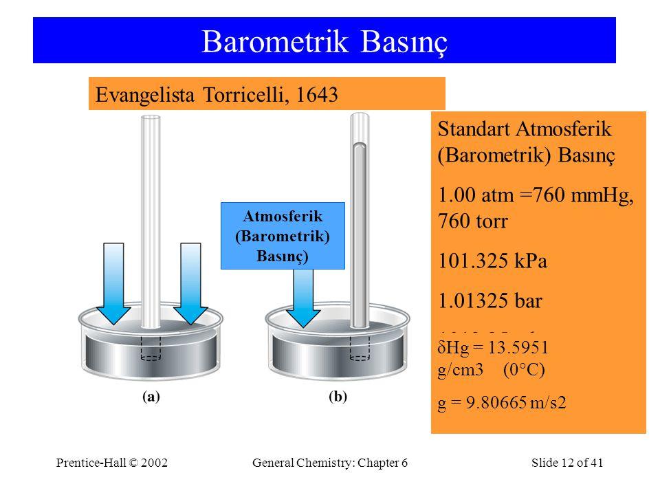 Prentice-Hall © 2002General Chemistry: Chapter 6Slide 12 of 41 Barometrik Basınç Standart Atmosferik (Barometrik) Basınç 1.00 atm =760 mmHg, 760 torr 101.325 kPa 1.01325 bar 1013.25 mbar Atmosferik (Barometrik) Basınç) δHg = 13.5951 g/cm3 (0°C) g = 9.80665 m/s2 Evangelista Torricelli, 1643