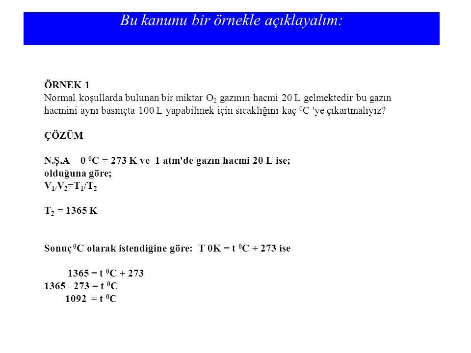 Bu kanunu bir örnekle açıklayalım: ÖRNEK 1 Normal koşullarda bulunan bir miktar O 2 gazının hacmi 20 L gelmektedir bu gazın hacmini aynı basınçta 100