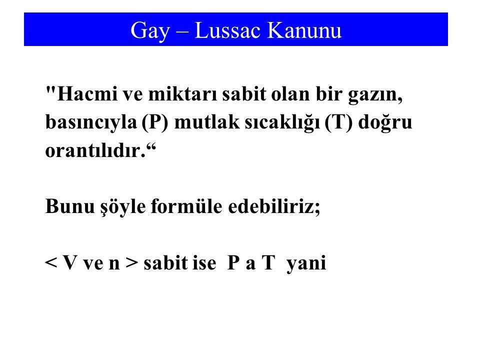 Gay – Lussac Kanunu Hacmi ve miktarı sabit olan bir gazın, basıncıyla (P) mutlak sıcaklığı (T) doğru orantılıdır. Bunu şöyle formüle edebiliriz; sabit ise P a T yani