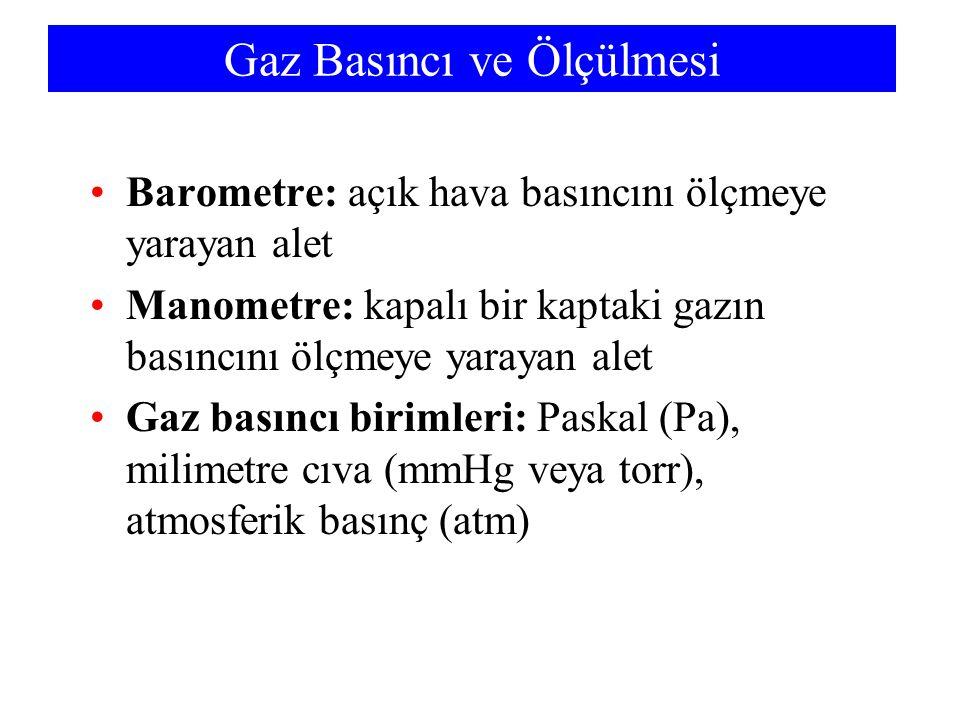 Gaz Basıncı ve Ölçülmesi Barometre: açık hava basıncını ölçmeye yarayan alet Manometre: kapalı bir kaptaki gazın basıncını ölçmeye yarayan alet Gaz basıncı birimleri: Paskal (Pa), milimetre cıva (mmHg veya torr), atmosferik basınç (atm)