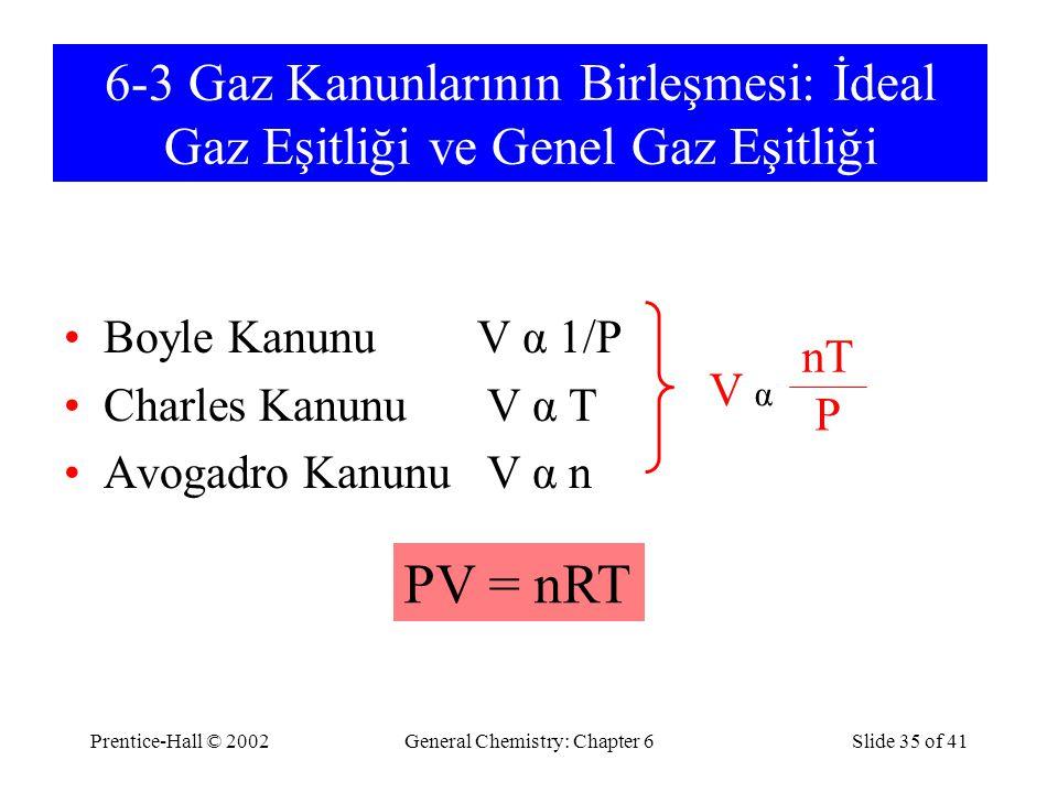 Prentice-Hall © 2002General Chemistry: Chapter 6Slide 35 of 41 6-3 Gaz Kanunlarının Birleşmesi: İdeal Gaz Eşitliği ve Genel Gaz Eşitliği Boyle Kanunu V α 1/P Charles Kanunu V α T Avogadro Kanunu V α n PV = nRT V α nT P