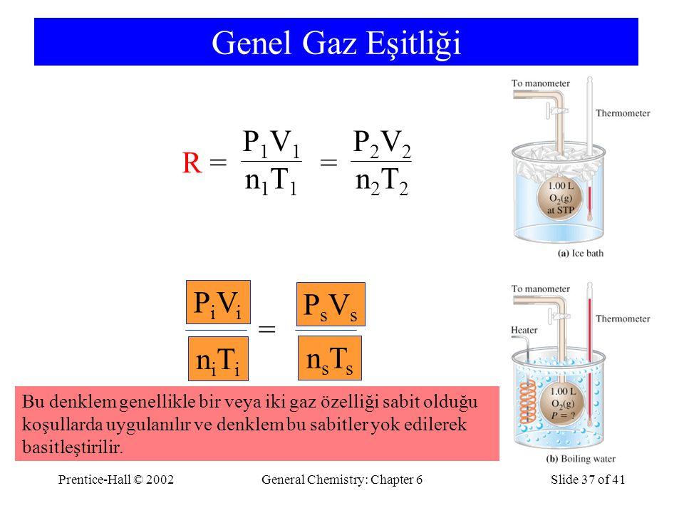 Prentice-Hall © 2002General Chemistry: Chapter 6Slide 37 of 41 Genel Gaz Eşitliği R =R = = P2V2P2V2 n2T2n2T2 P1V1P1V1 n1T1n1T1 = PsVsPsVs nsTsnsTs PiViPiVi niTiniTi Bu denklem genellikle bir veya iki gaz özelliği sabit olduğu koşullarda uygulanılır ve denklem bu sabitler yok edilerek basitleştirilir.