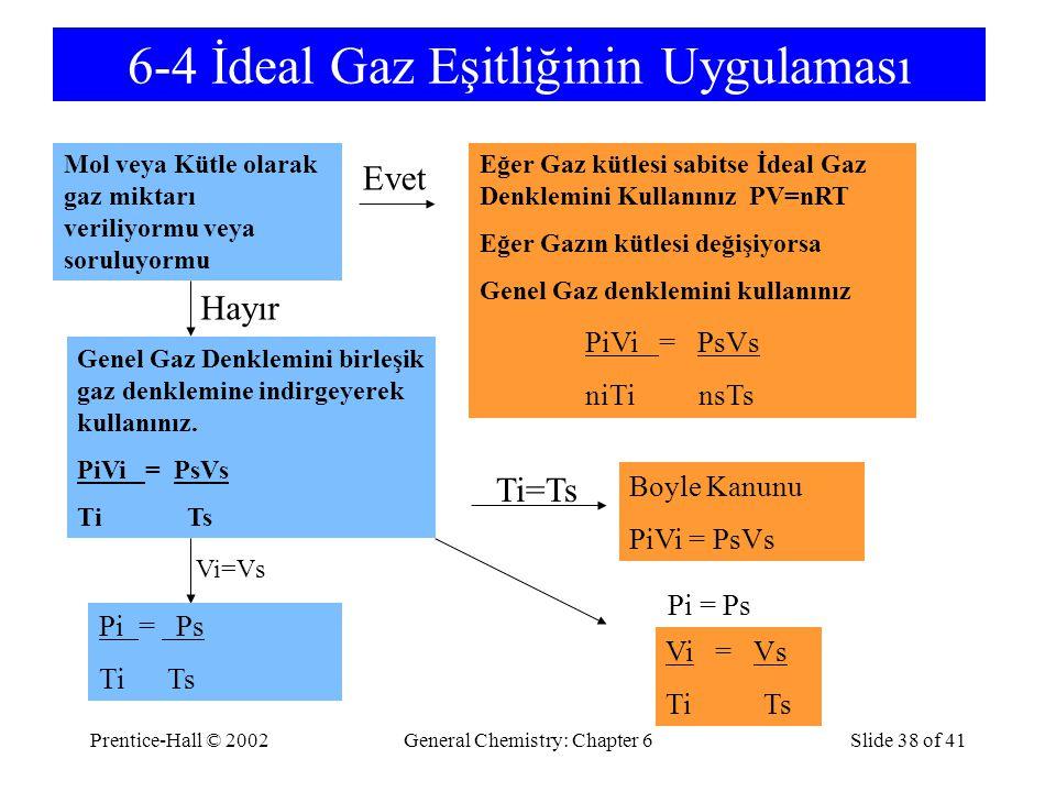 Prentice-Hall © 2002General Chemistry: Chapter 6Slide 38 of 41 6-4 İdeal Gaz Eşitliğinin Uygulaması Mol veya Kütle olarak gaz miktarı veriliyormu veya soruluyormu Genel Gaz Denklemini birleşik gaz denklemine indirgeyerek kullanınız.