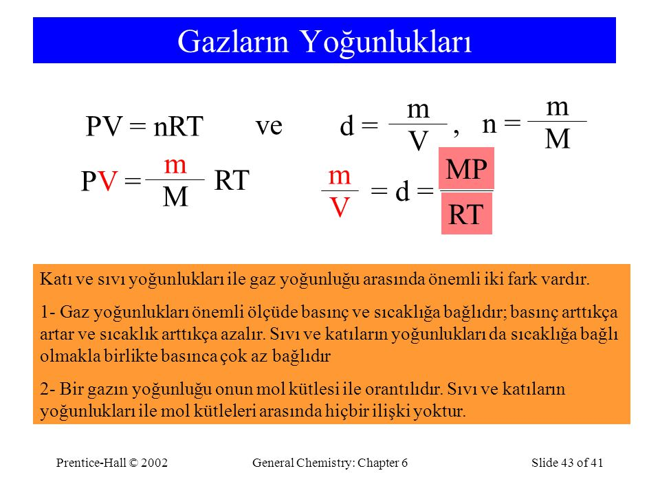 Prentice-Hall © 2002General Chemistry: Chapter 6Slide 43 of 41 Gazların Yoğunlukları PV = nRT ve d = m V PV =PV = m M RT MP RT V m = d =, n = m M Katı