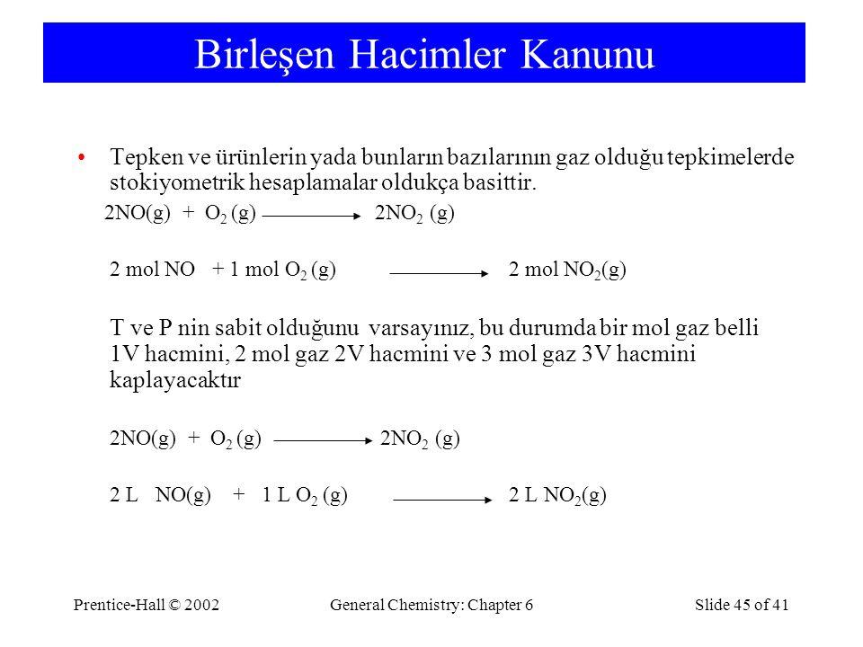 Prentice-Hall © 2002General Chemistry: Chapter 6Slide 45 of 41 Birleşen Hacimler Kanunu Tepken ve ürünlerin yada bunların bazılarının gaz olduğu tepkimelerde stokiyometrik hesaplamalar oldukça basittir.