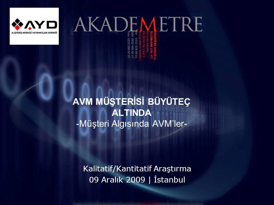 AVM MÜŞTERİSİ BÜYÜTEÇ ALTINDA -Müşteri Algısında AVM'ler- Kalitatif/Kantitatif Araştırma 09 Aralık 2009 | İstanbul