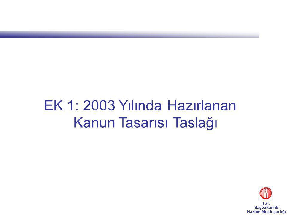 T.C. Başbakanlık Hazine Müsteşarlığı EK 1: 2003 Yılında Hazırlanan Kanun Tasarısı Taslağı