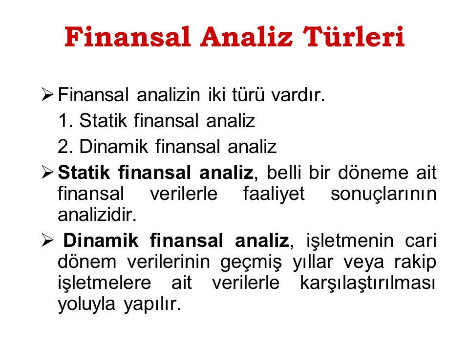 Finansal Analiz Türleri  Finansal analizin iki türü vardır.