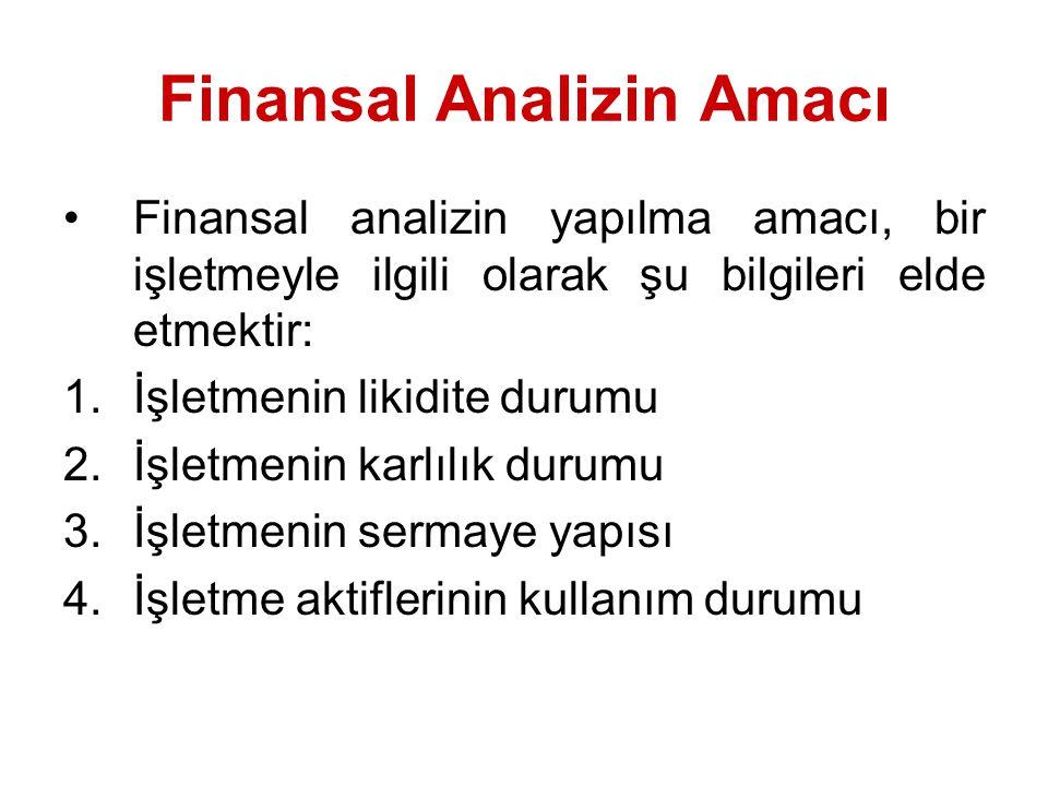 Finansal Analizin Amacı Finansal analizin yapılma amacı, bir işletmeyle ilgili olarak şu bilgileri elde etmektir: 1.İşletmenin likidite durumu 2.İşletmenin karlılık durumu 3.İşletmenin sermaye yapısı 4.İşletme aktiflerinin kullanım durumu