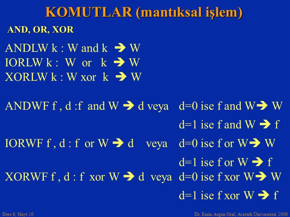 Dr. Emin Argun Oral, Atatürk Üniversitesi 2008 Ders 6, Slayt 10 AND, OR, XOR KOMUTLAR (mantıksal işlem) ANDLW k : W and k  W IORLW k : W or k  W XOR