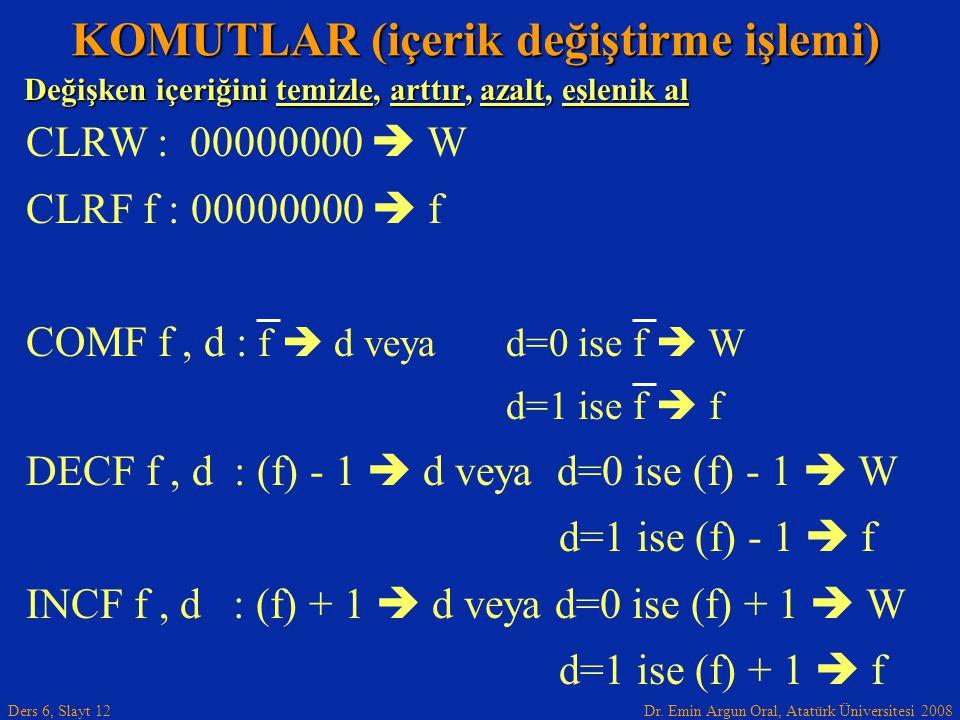 Dr. Emin Argun Oral, Atatürk Üniversitesi 2008 Ders 6, Slayt 12 Değişken içeriğini temizle, arttır, azalt, eşlenik al KOMUTLAR (içerik değiştirme işle