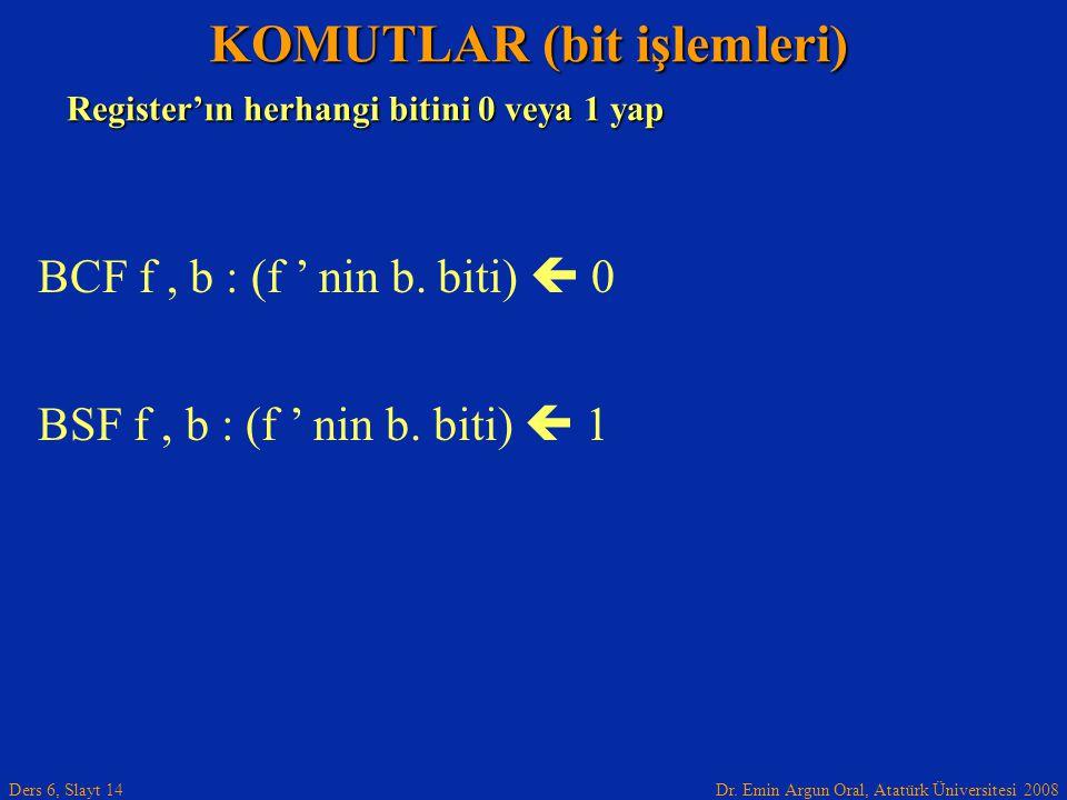 Dr. Emin Argun Oral, Atatürk Üniversitesi 2008 Ders 6, Slayt 14 Register'ın herhangi bitini 0 veya 1 yap KOMUTLAR (bit işlemleri) BCF f, b : (f ' nin