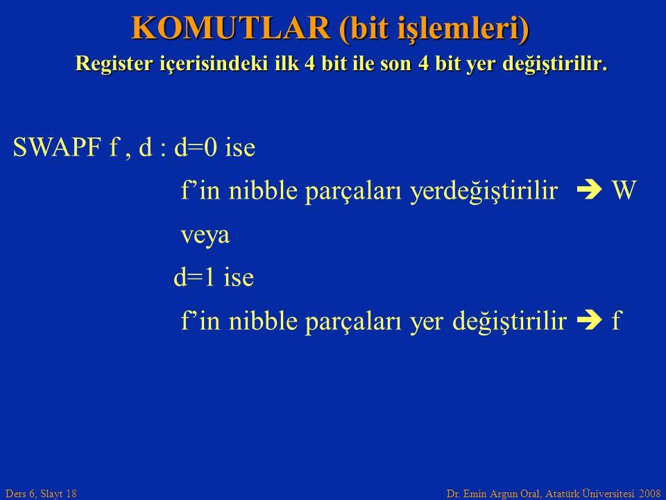 Dr. Emin Argun Oral, Atatürk Üniversitesi 2008 Ders 6, Slayt 18 KOMUTLAR (bit işlemleri) SWAPF f, d : d=0 ise f'in nibble parçaları yerdeğiştirilir 