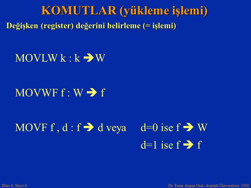 Dr. Emin Argun Oral, Atatürk Üniversitesi 2008 Ders 6, Slayt 6 Değişken (register) değerini belirleme (= işlemi) KOMUTLAR (yükleme işlemi) MOVLW k : k