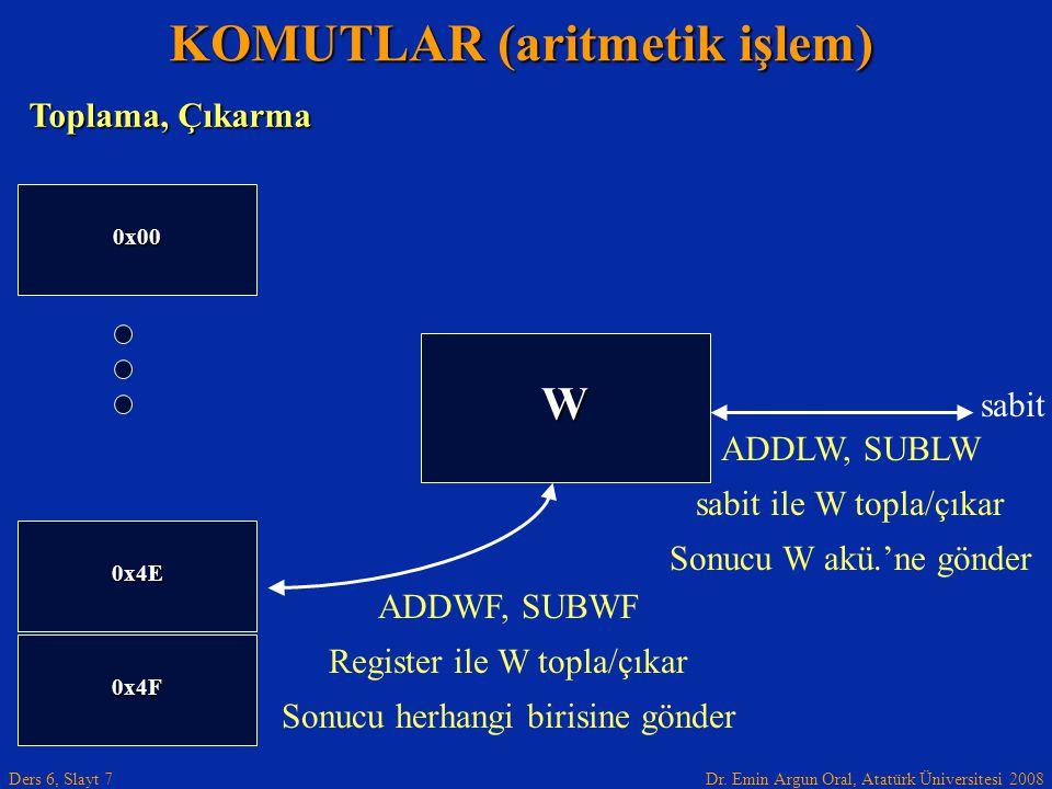 Dr. Emin Argun Oral, Atatürk Üniversitesi 2008 Ders 6, Slayt 7 KOMUTLAR (aritmetik işlem) 0x4F 0x00 W 0x4E ADDWF, SUBWF Register ile W topla/çıkar Son