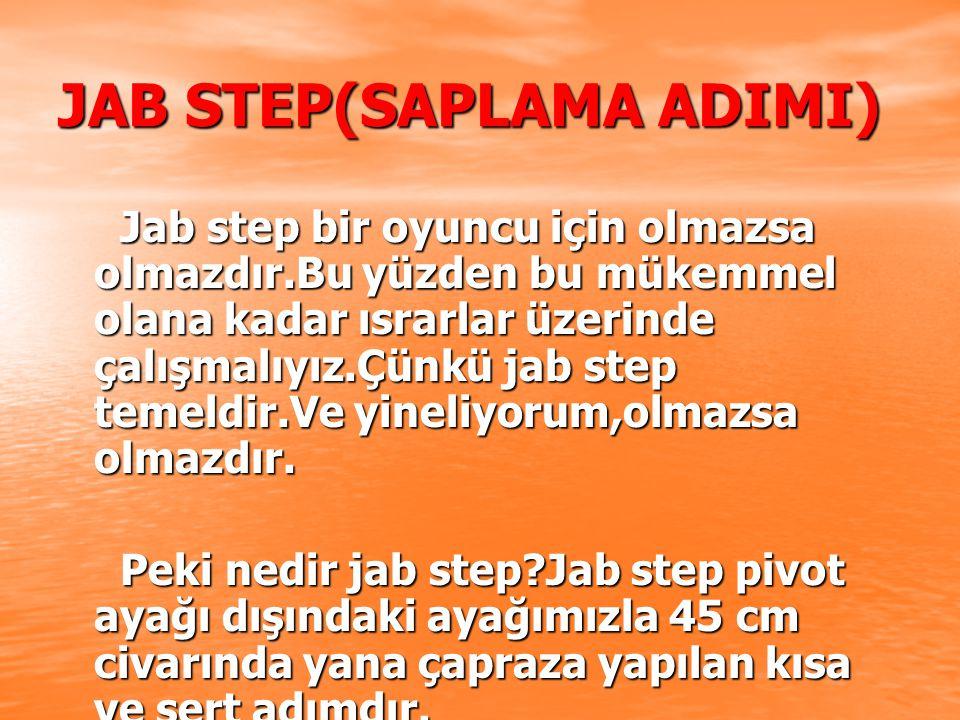 JAB STEP(SAPLAMA ADIMI) Jab step bir oyuncu için olmazsa olmazdır.Bu yüzden bu mükemmel olana kadar ısrarlar üzerinde çalışmalıyız.Çünkü jab step temeldir.Ve yineliyorum,olmazsa olmazdır.