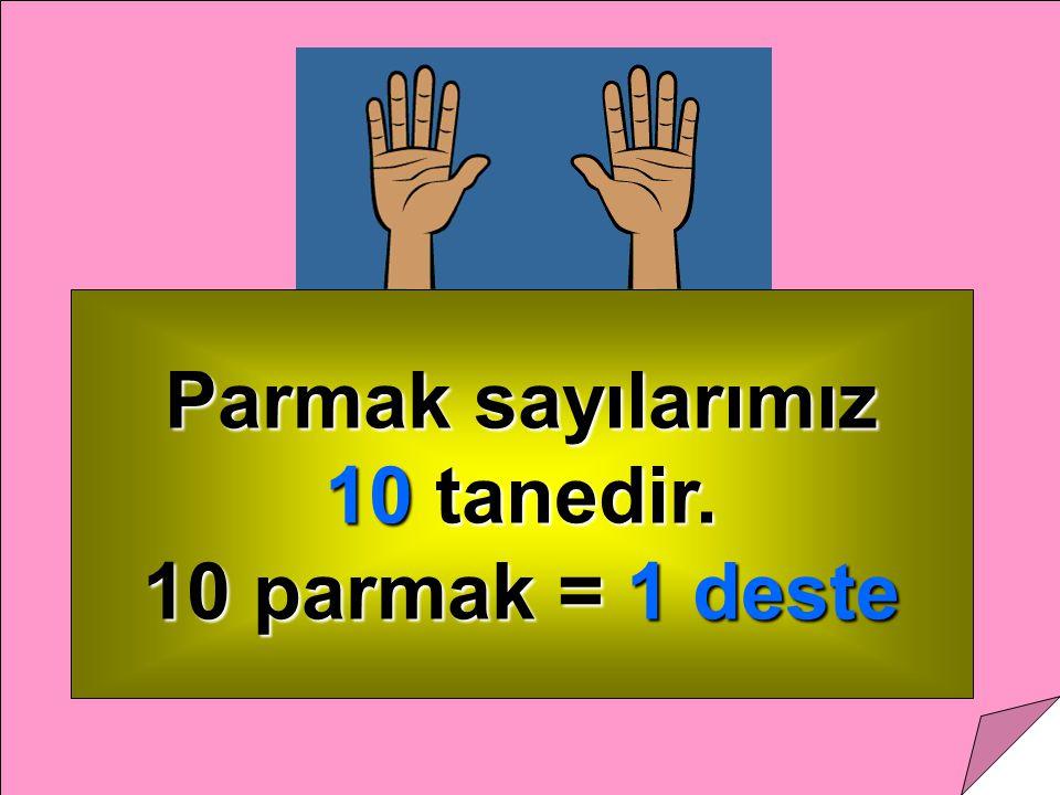 Parmak sayılarımız 10 tanedir. 10 parmak = 1 deste