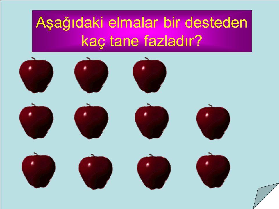 Aşağıdaki elmalar bir desteden kaç tane fazladır?