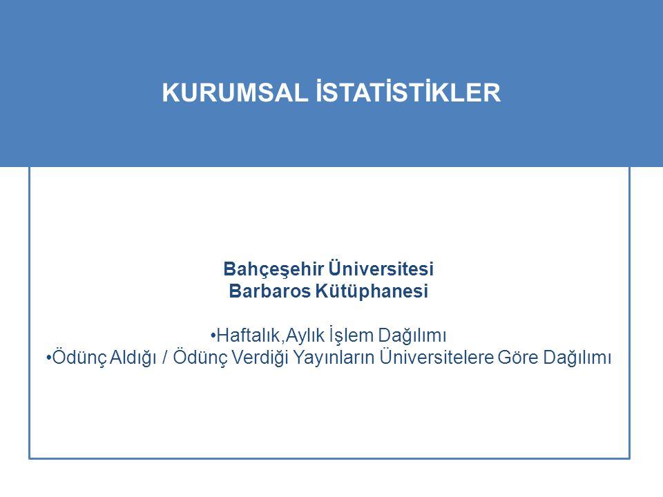 Bahçeşehir Üniversitesi Barbaros Kütüphanesi Haftalık,Aylık İşlem Dağılımı Ödünç Aldığı / Ödünç Verdiği Yayınların Üniversitelere Göre Dağılımı KURUMSAL İSTATİSTİKLER