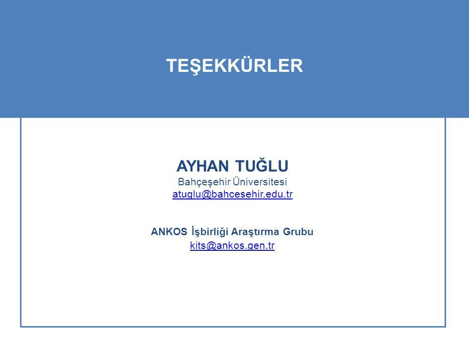 AYHAN TUĞLU Bahçeşehir Üniversitesi atuglu@bahcesehir.edu.tr ANKOS İşbirliği Araştırma Grubu kits@ankos.gen.tr TEŞEKKÜRLER
