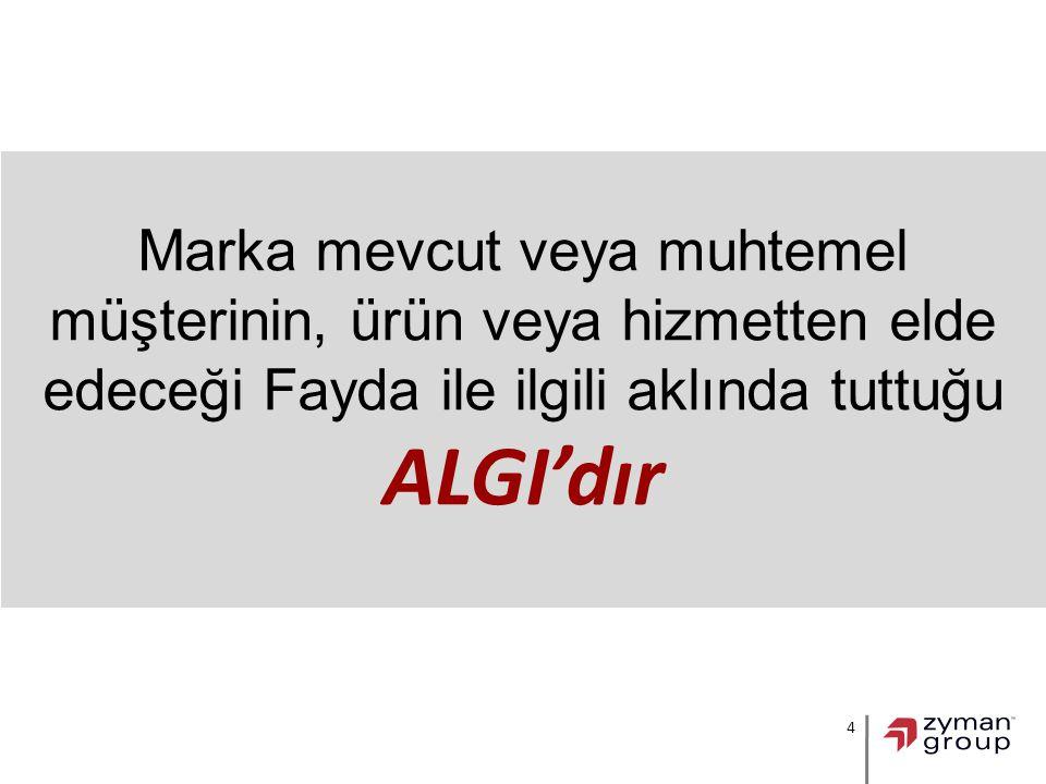 4 Marka mevcut veya muhtemel müşterinin, ürün veya hizmetten elde edeceği Fayda ile ilgili aklında tuttuğu ALGI'dır