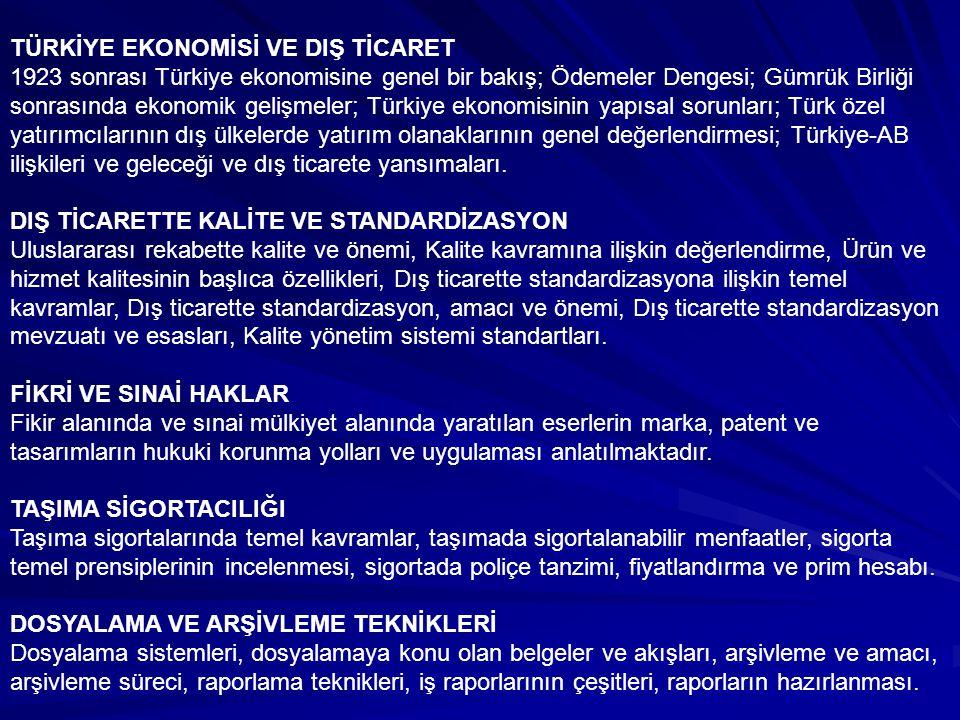 TÜRKİYE EKONOMİSİ VE DIŞ TİCARET 1923 sonrası Türkiye ekonomisine genel bir bakış; Ödemeler Dengesi; Gümrük Birliği sonrasında ekonomik gelişmeler; Tü