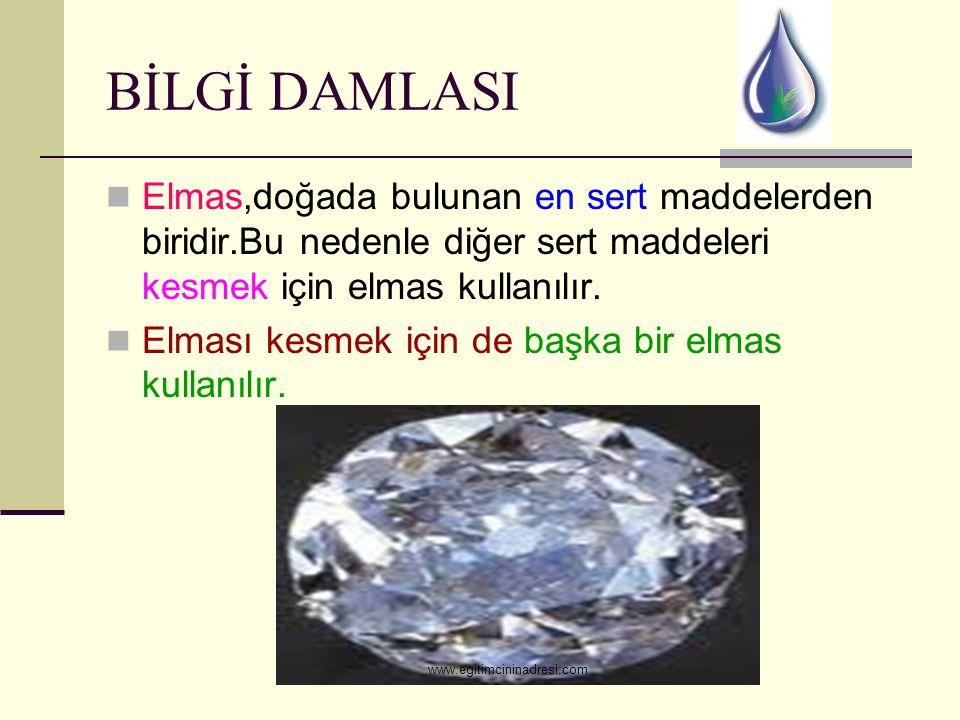 BİLGİ DAMLASI Elmas,doğada bulunan en sert maddelerden biridir.Bu nedenle diğer sert maddeleri kesmek için elmas kullanılır. Elması kesmek için de baş