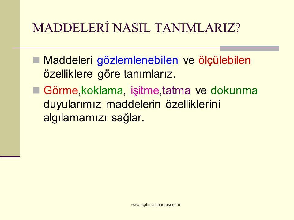 MADDELERİN GÖZLENEBİLEN ÖZELLİKLERİ Parlaklık Esneklik Kırılganlık www.egitimcininadresi.com