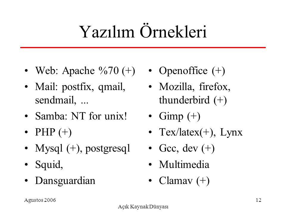 Agustos 2006 Açık Kaynak Dünyası 12 Yazılım Örnekleri Web: Apache %70 (+) Mail: postfix, qmail, sendmail,...