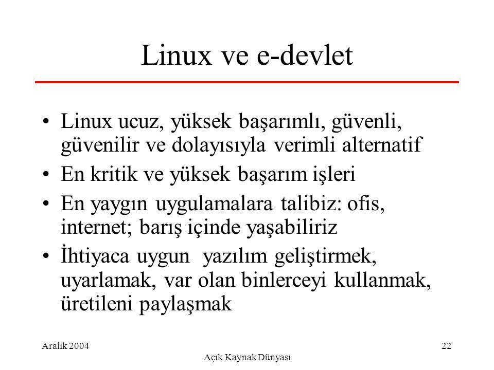 Aralık 2004 Açık Kaynak Dünyası 22 Linux ve e-devlet Linux ucuz, yüksek başarımlı, güvenli, güvenilir ve dolayısıyla verimli alternatif En kritik ve yüksek başarım işleri En yaygın uygulamalara talibiz: ofis, internet; barış içinde yaşabiliriz İhtiyaca uygun yazılım geliştirmek, uyarlamak, var olan binlerceyi kullanmak, üretileni paylaşmak