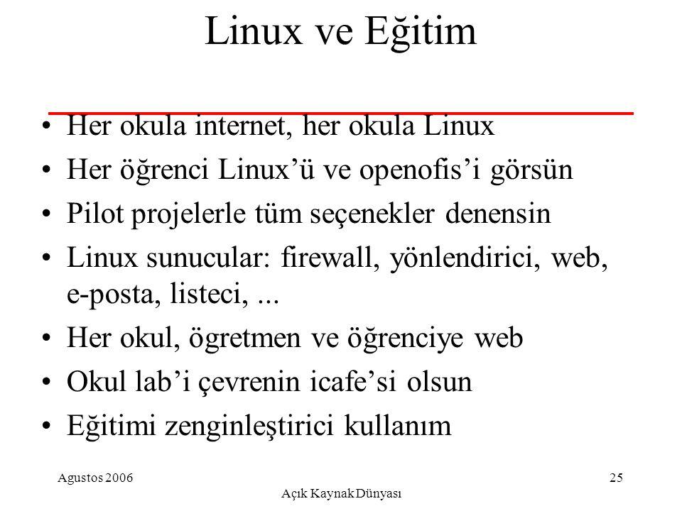 Agustos 2006 Açık Kaynak Dünyası 25 Linux ve Eğitim Her okula internet, her okula Linux Her öğrenci Linux'ü ve openofis'i görsün Pilot projelerle tüm seçenekler denensin Linux sunucular: firewall, yönlendirici, web, e-posta, listeci,...