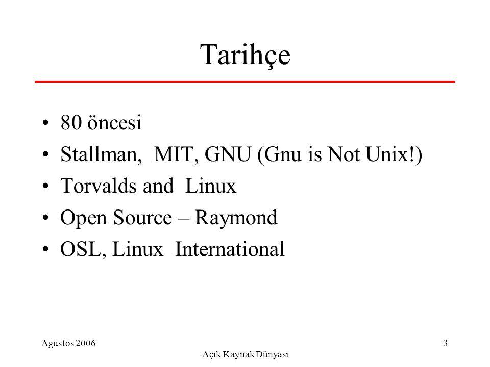Agustos 2006 Açık Kaynak Dünyası 14 Ülke Örnekleri Çin: redflag, ++ Cin-kore-japonyaortak Hindistan: linux, yazılım geliştirme, e- devlet Pakistan: yerel Linux İspanya: Eslnx?, bel.