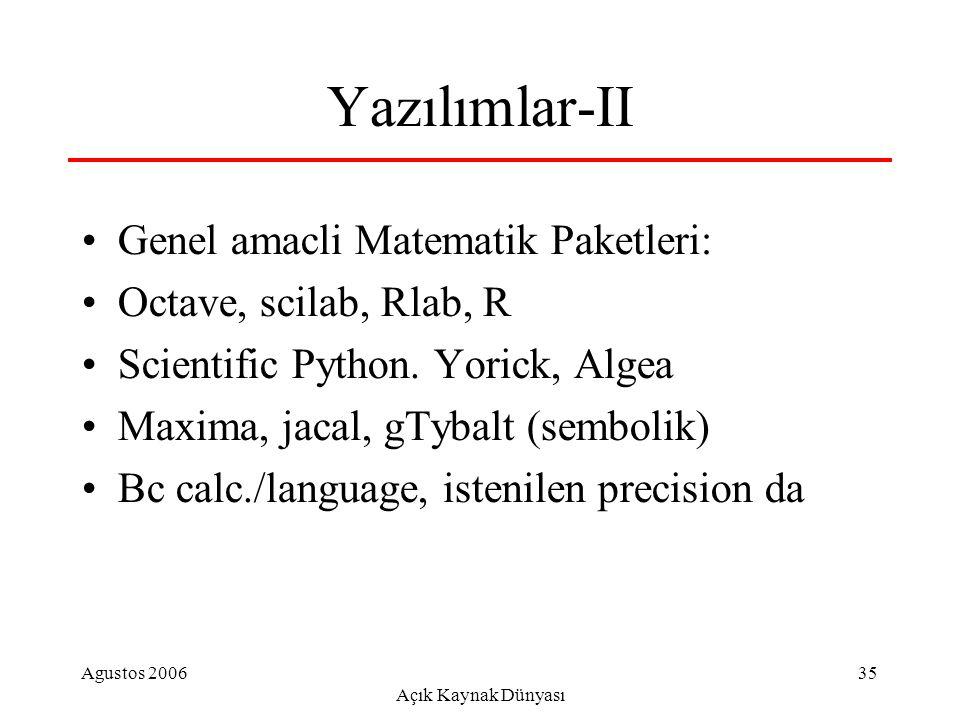 Agustos 2006 Açık Kaynak Dünyası 35 Yazılımlar-II Genel amacli Matematik Paketleri: Octave, scilab, Rlab, R Scientific Python. Yorick, Algea Maxima, j