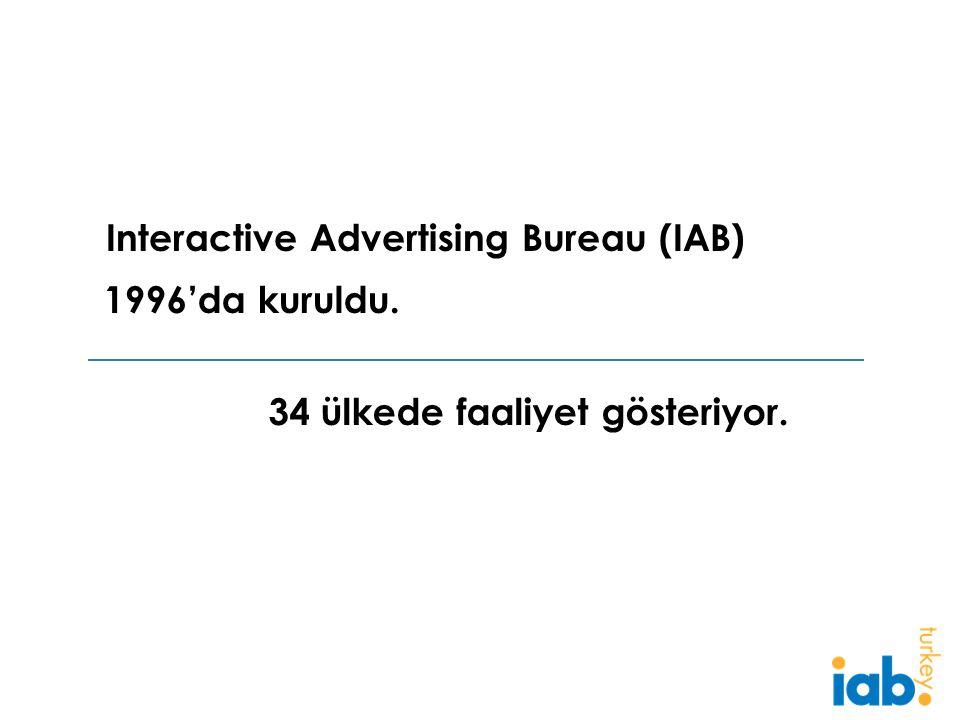 1996'da kuruldu. 34 ülkede faaliyet gösteriyor. Interactive Advertising Bureau (IAB)