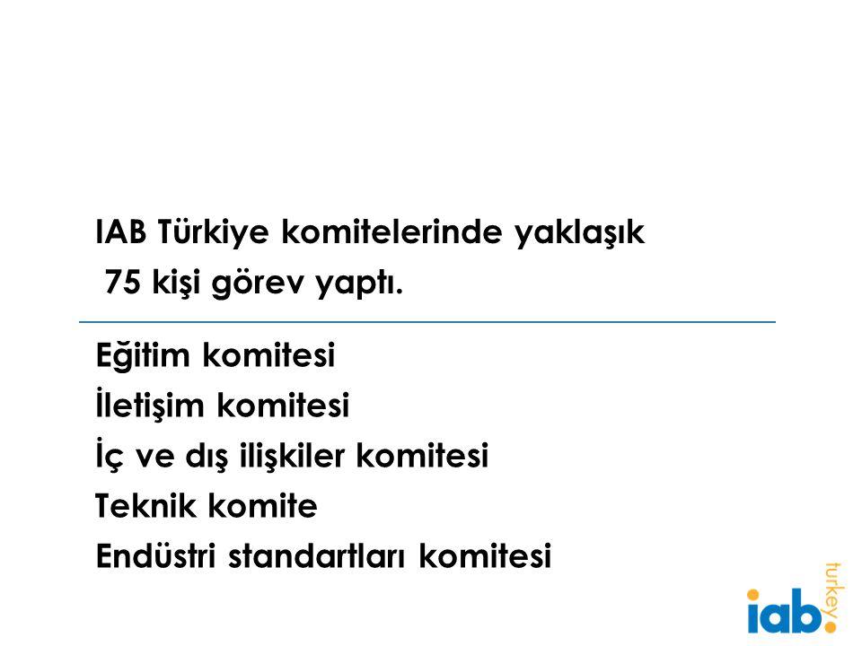 Eğitim komitesi İletişim komitesi İç ve dış ilişkiler komitesi Teknik komite Endüstri standartları komitesi IAB Türkiye komitelerinde yaklaşık 75 kişi görev yaptı.