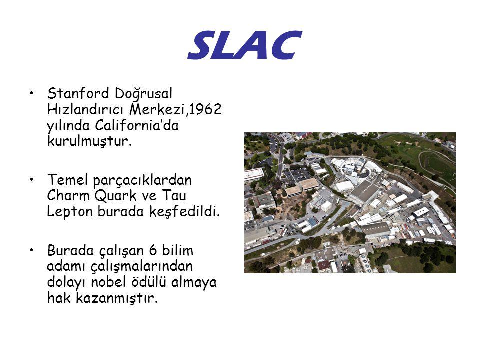 SLAC Stanford Doğrusal Hızlandırıcı Merkezi,1962 yılında California'da kurulmuştur.