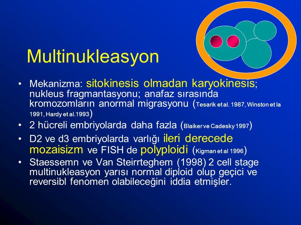 Multinukleasyon Mekanizma: sitokinesis olmadan karyokinesis ; nukleus fragmantasyonu; anafaz sırasında kromozomların anormal migrasyonu ( Tesarik et a