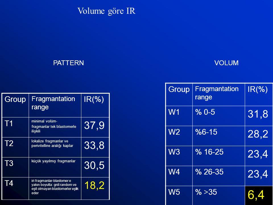 Group Fragmantation range IR(%) W1% 0-5 31,8 W2%6-15 28,2 W3% 16-25 23,4 W4% 26-35 23,4 W5% >35 6,4 Volume göre IR PATTERNVOLUM Group Fragmantation ra