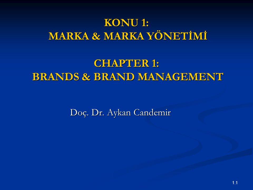 1.1 KONU 1: MARKA & MARKA YÖNETİMİ CHAPTER 1: BRANDS & BRAND MANAGEMENT Doç. Dr. Aykan Candemir