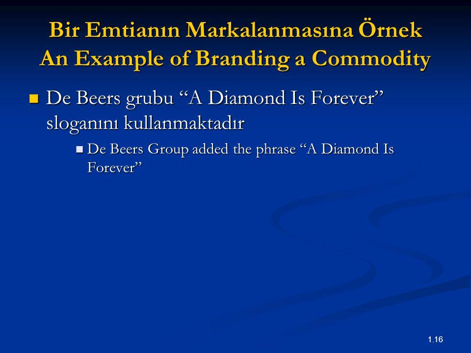 """1.16 Bir Emtianın Markalanmasına Örnek An Example of Branding a Commodity De Beers grubu """"A Diamond Is Forever"""" sloganını kullanmaktadır De Beers grub"""