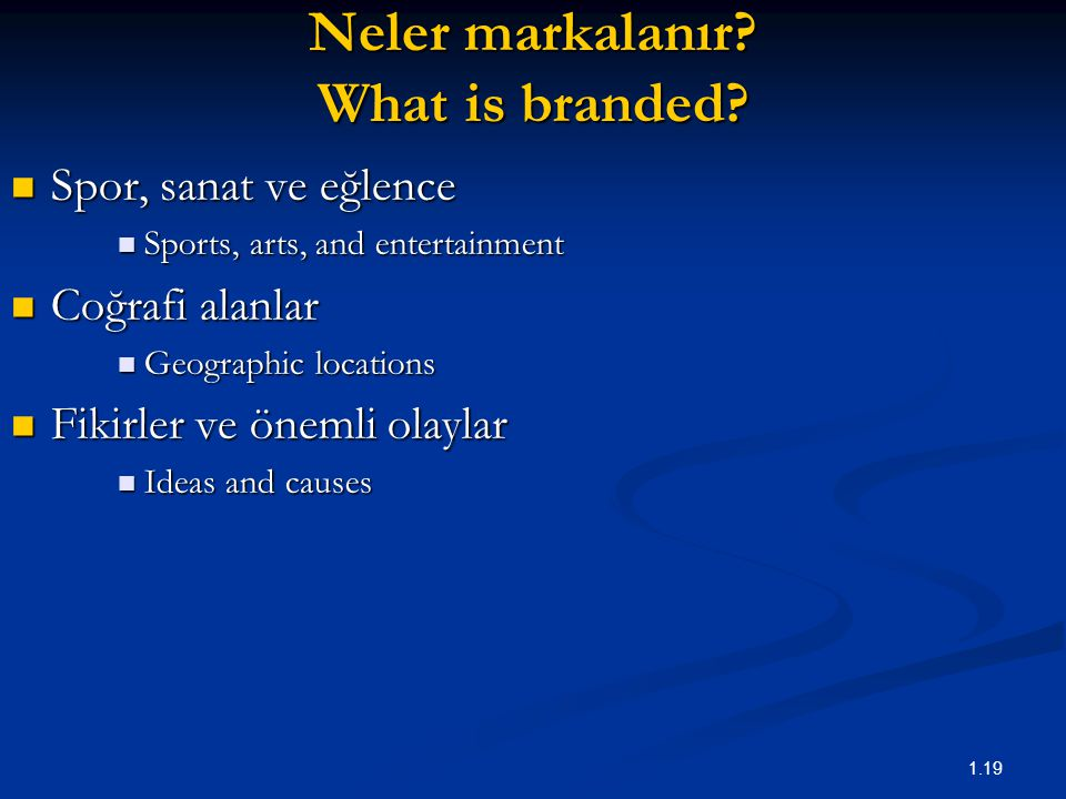 1.19 Neler markalanır? What is branded? Spor, sanat ve eğlence Spor, sanat ve eğlence Sports, arts, and entertainment Sports, arts, and entertainment